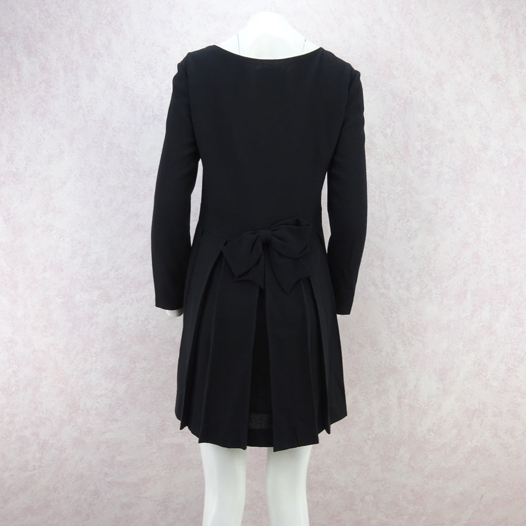 Vintage 90s MOSCHINO Wool Mini-Dress w/Pleat Back fd