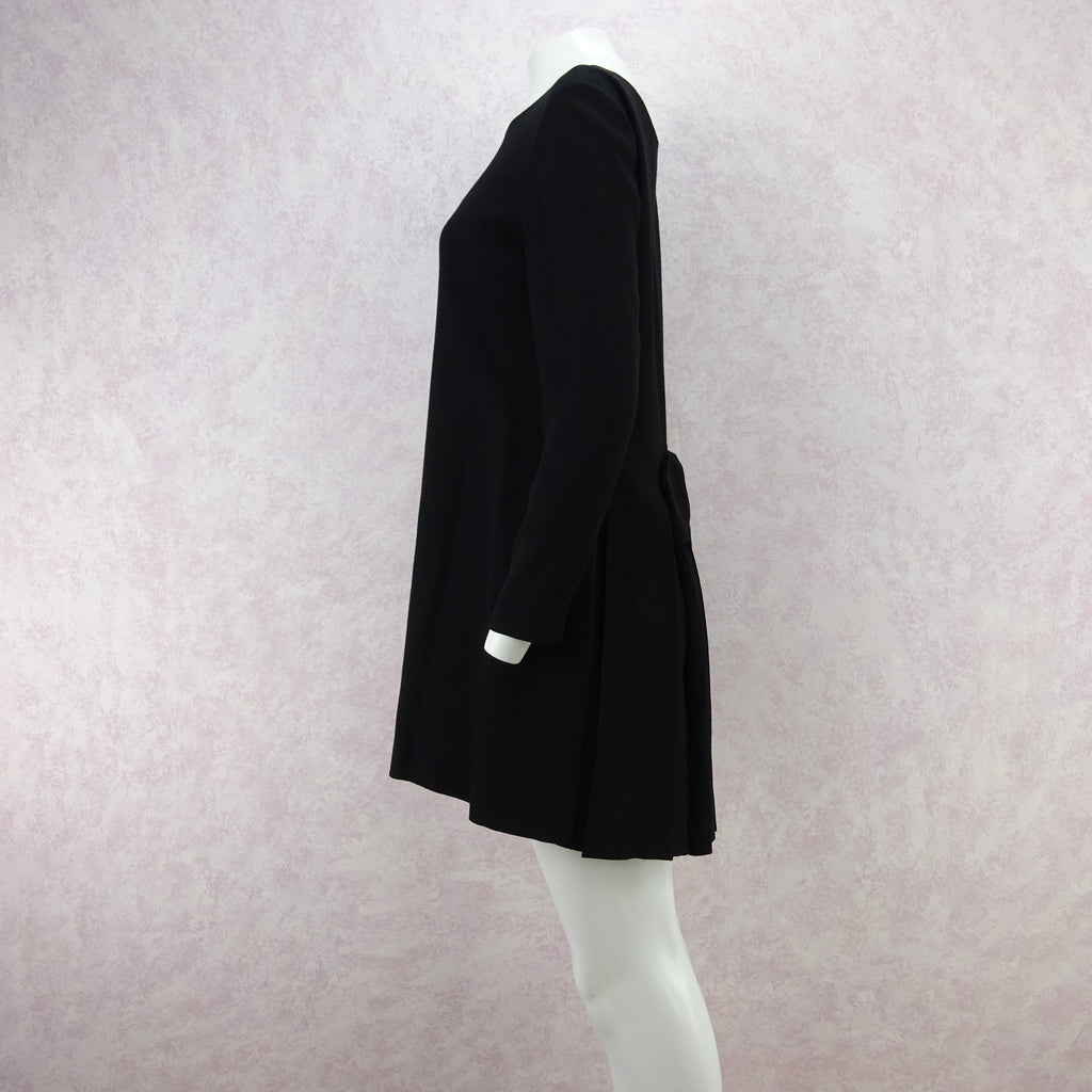Vintage 90s MOSCHINO Wool Mini-Dress w/Pleat Back ff