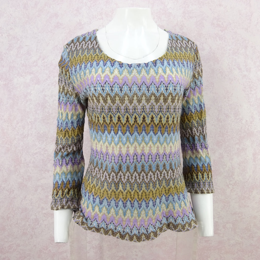 Vintage 70s Rainbow Knit Flame Stitch TopVintage 70s Rainbow Knit Flame Stitch Top