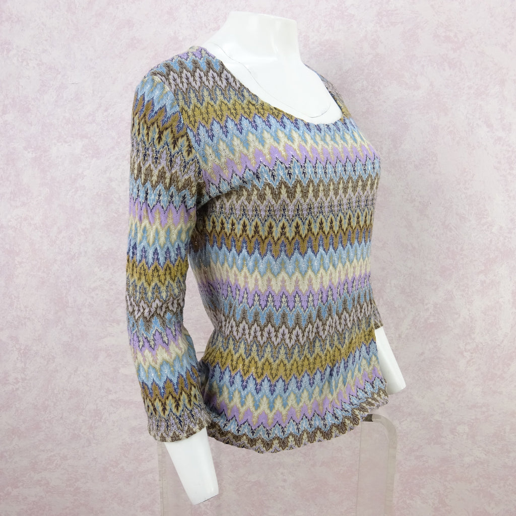 Vintage 70s Rainbow Knit Flame Stitch Top c