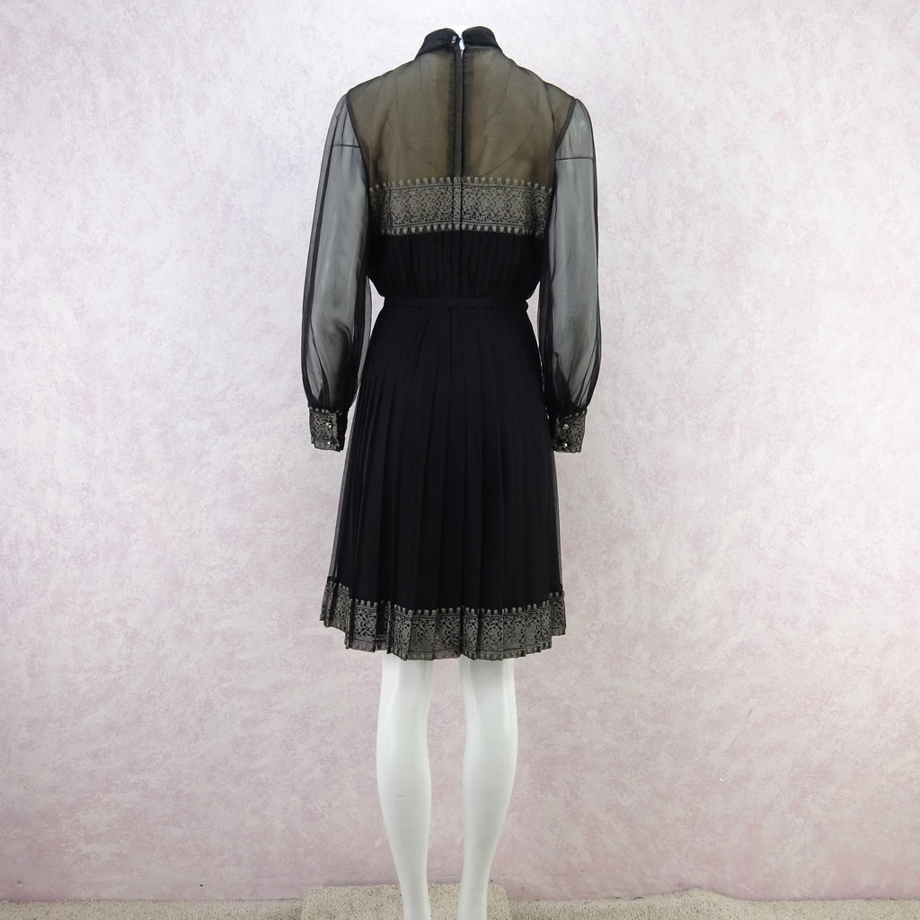 Vintage 60s Sheer Long Sleeve Pleated Dress w/Lace ff
