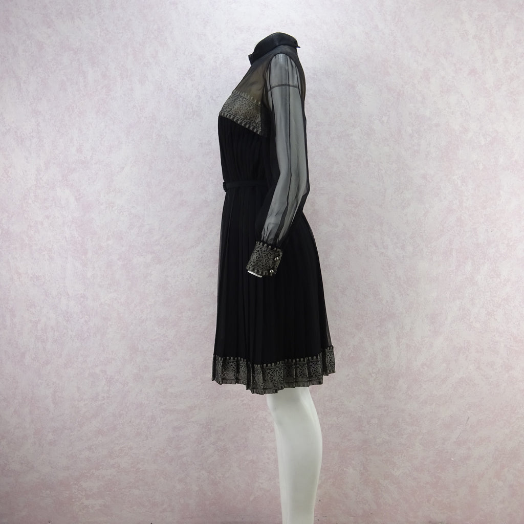 Vintage 60s Sheer Long Sleeve Pleated Dress w/Lace ll