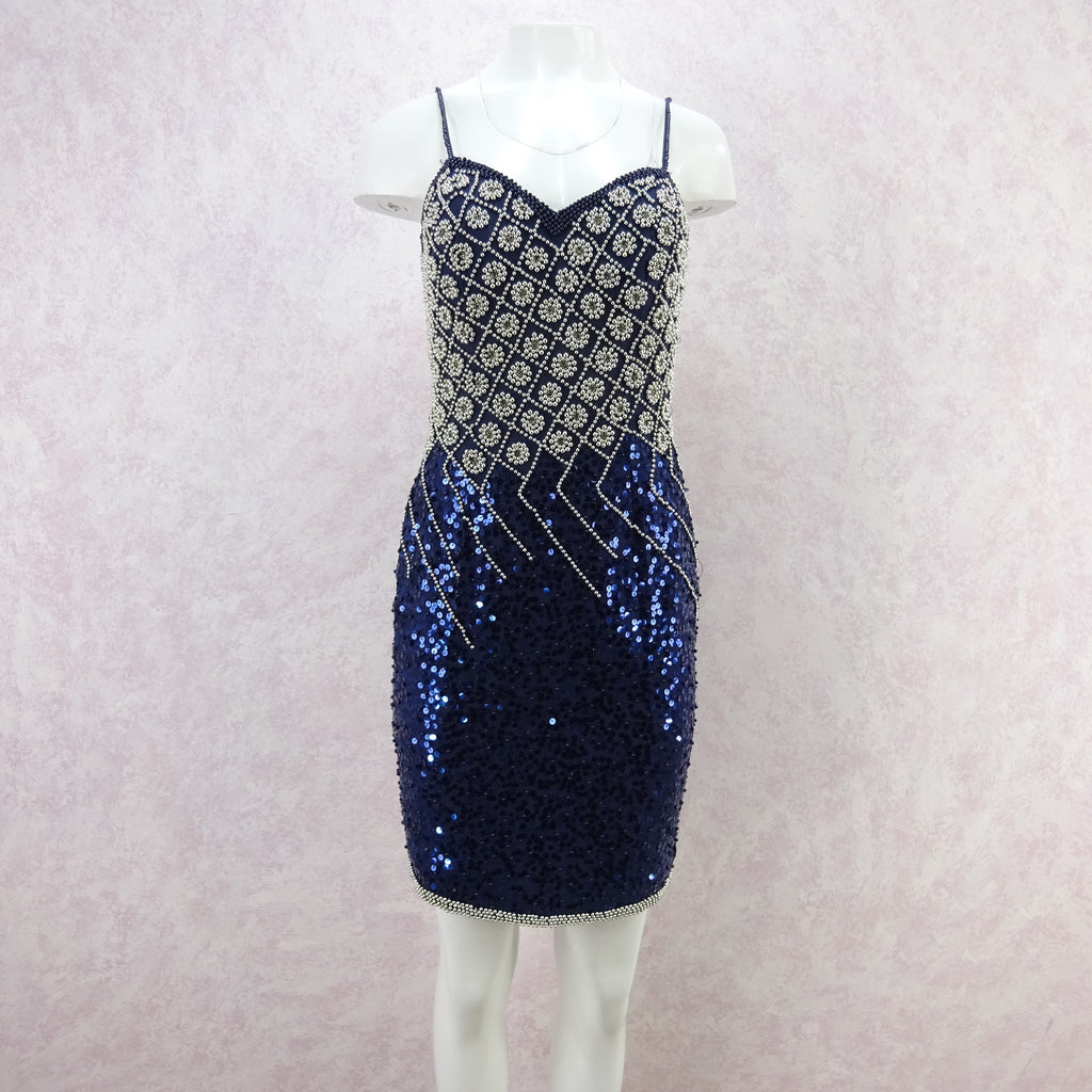 Vintage 90s Sequin and Silver Beaded Cocktail Dress, New Old Stock ...