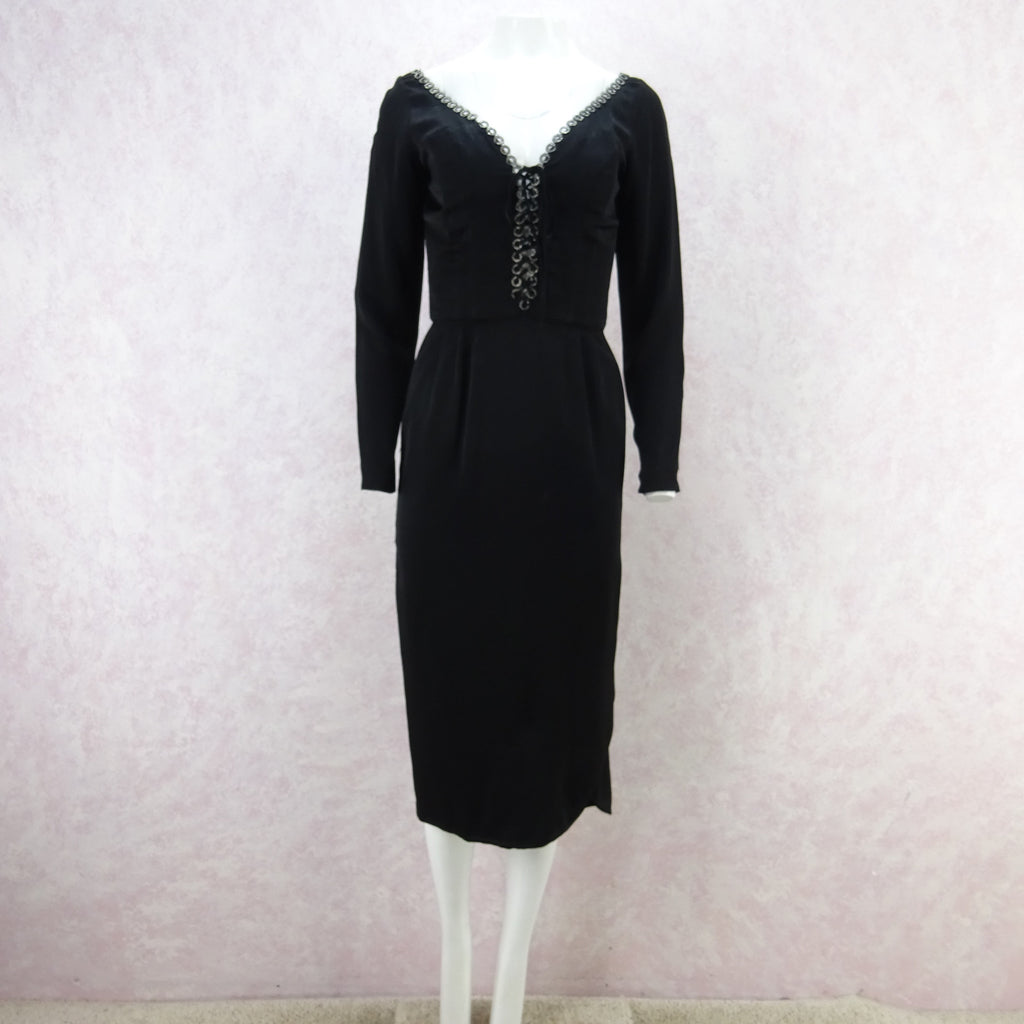 Vintage 60s CEIL CHAPMAN Dress w/ Ring Rhinestone Trim
