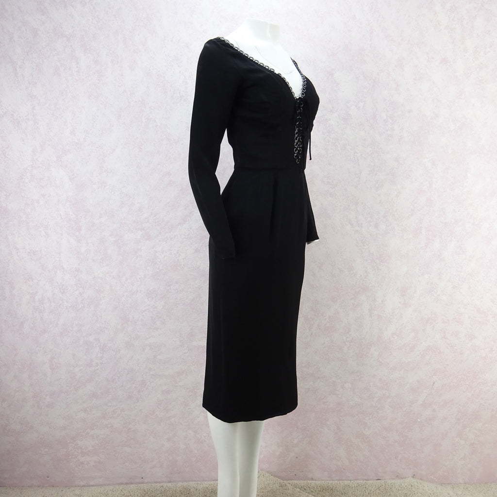 Vintage 60s CEIL CHAPMAN Dress w/ Ring Rhinestone Trim wdfr