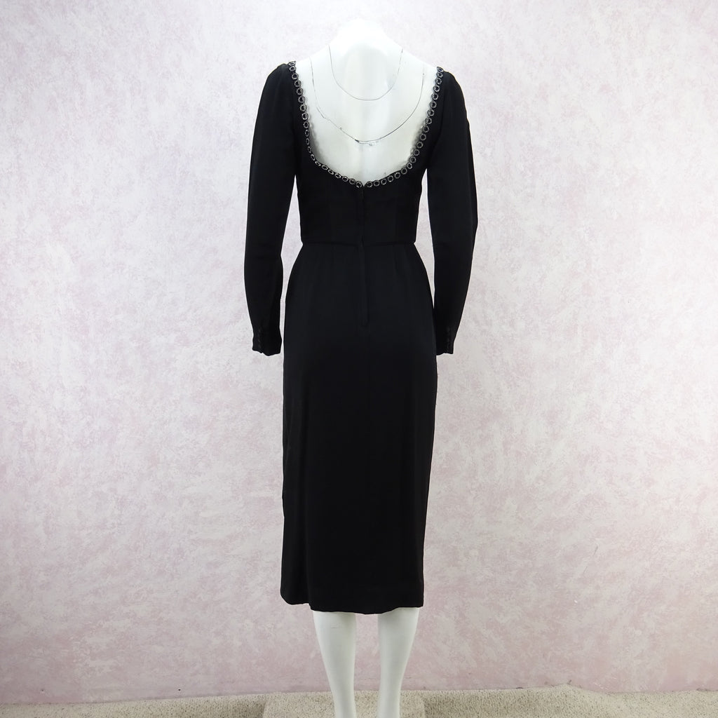 Vintage 60s CEIL CHAPMAN Dress w/ Ring Rhinestone Trim qwe