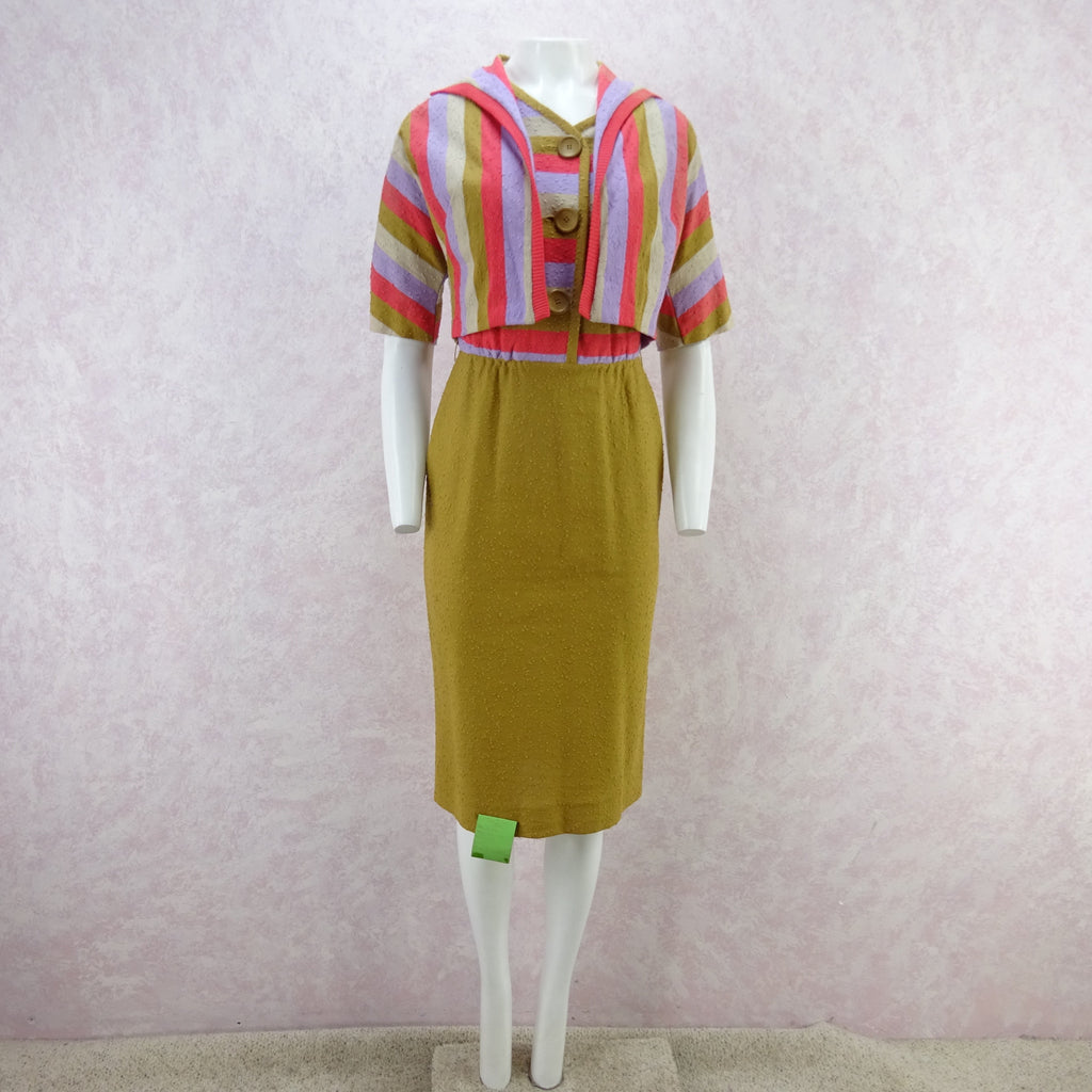 Vintage 60s KORET Nubby Cotton Knit Outfit, New Old Stock bg