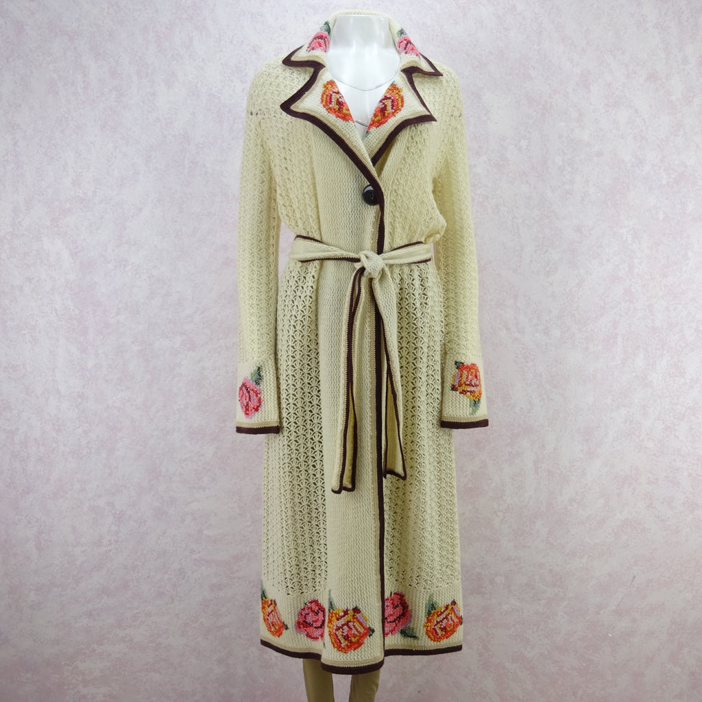 2000s Open Weave Knit Wool Belted Coat in a 1920's Style