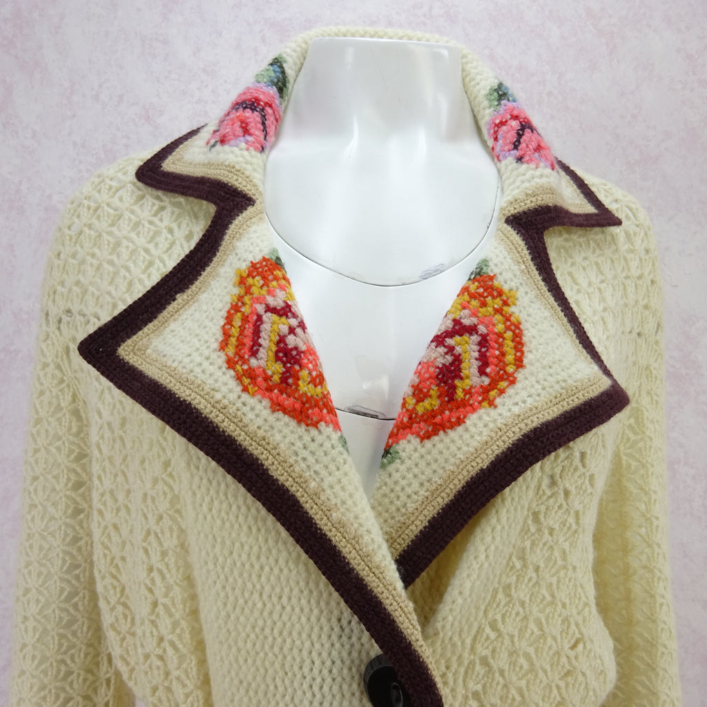 2000s Open Weave Knit Wool Belted Coat in a 1920's Style m