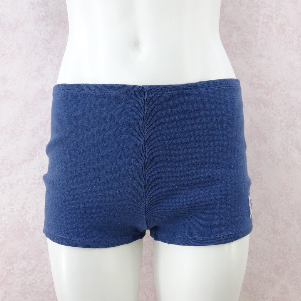 2000s RIVET Blue Cotton Knit Crop Top & Shorts Outfit, NWT