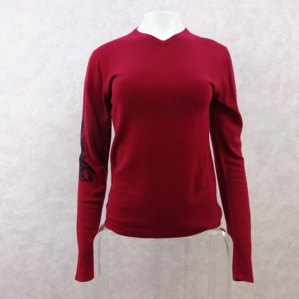 2000s A & G Cashmere V-Neck Pullover w/Cross in Back, NWTf