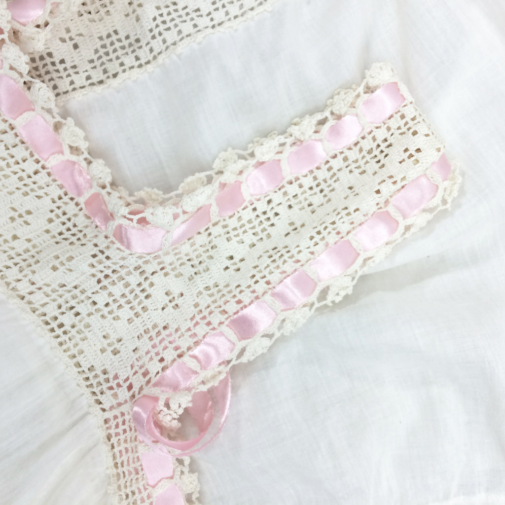 Edwardian Cotton Camisole w/Crochet & Ribbon