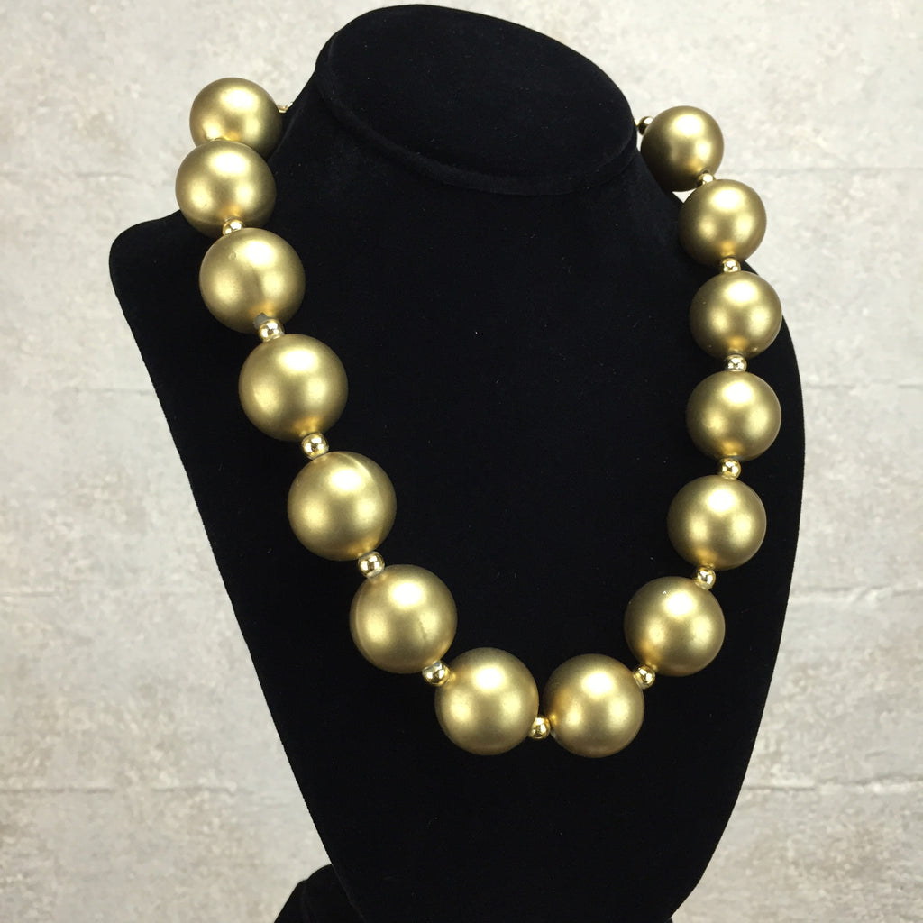 "Vintage 80s Large Golden ""Pearl"" Necklace, Side"