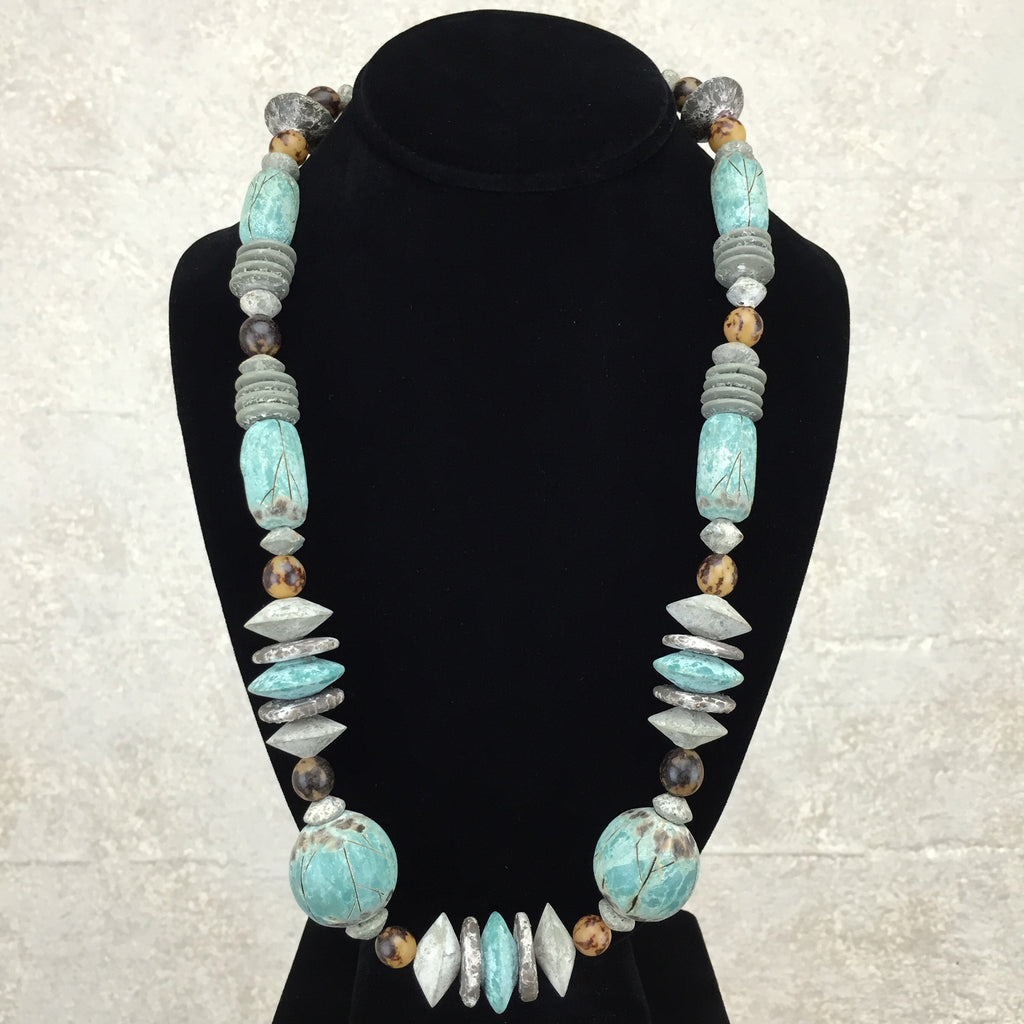 "Vintage 80s Faux ""Distressed"" Ethnic Necklace, front"