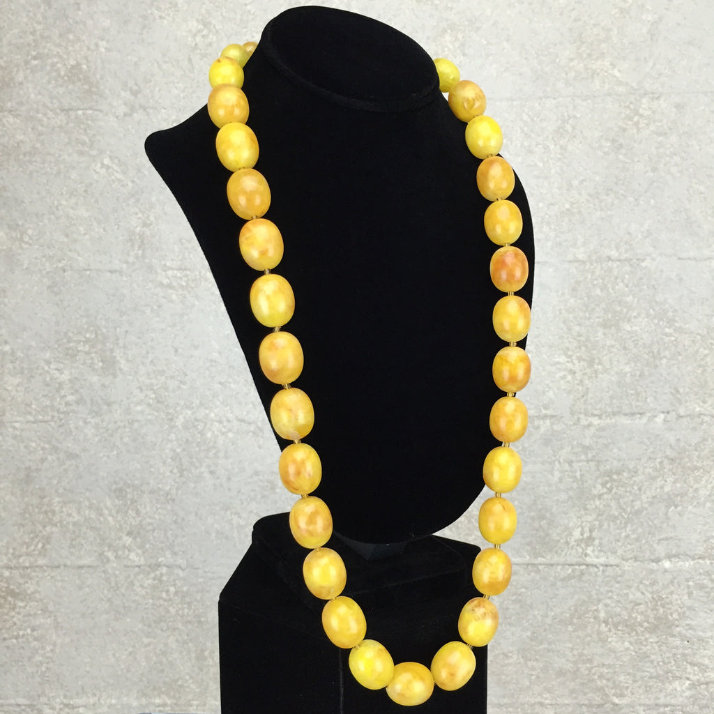 Vintage 80s Faux Amber Necklace, side