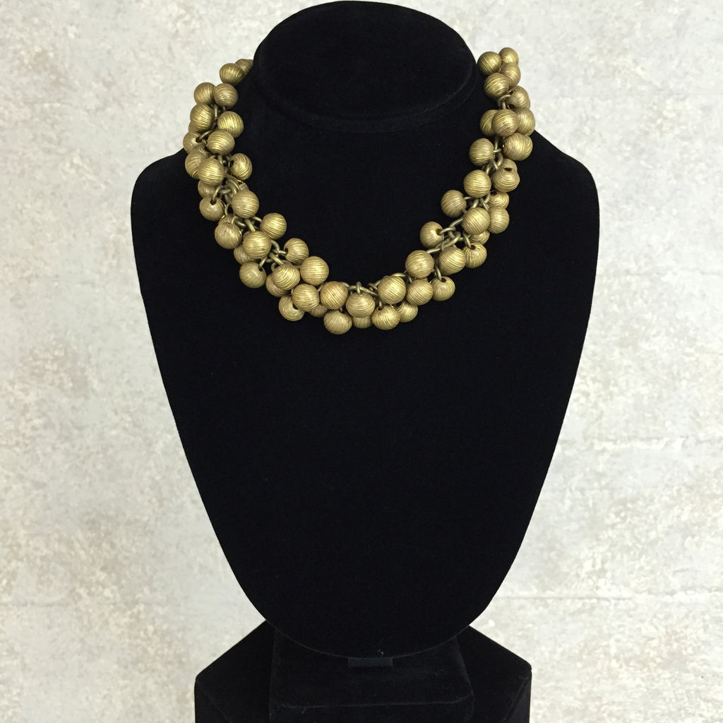 Vintage 40s Clustered Brass Ball Necklace, Front