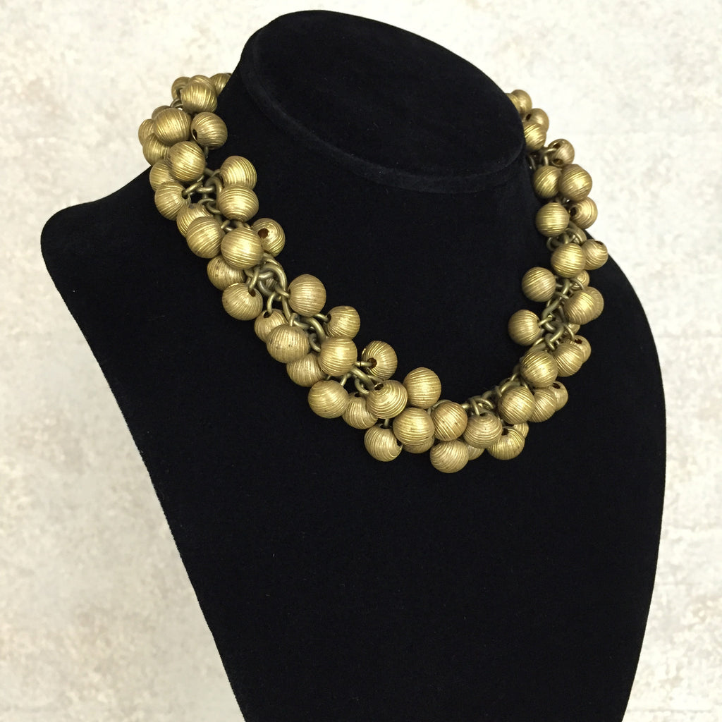 Vintage 40s Clustered Brass Ball Necklace, Side