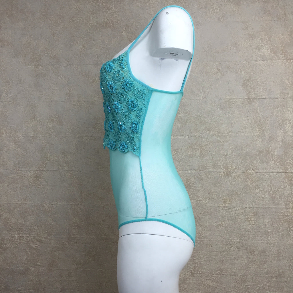 2000s Turquoise Beaded Bodysuit Camisole, Side 2