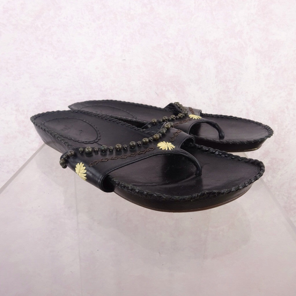 2000s Leather Ethnic-Inspired Sandals w/Whipstitch g