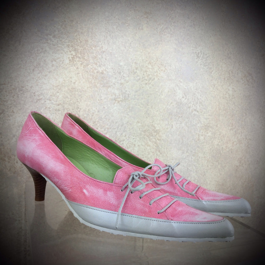 2000s PETER KENT Pink Leather Sneaker-Inspired Shoes, NOS