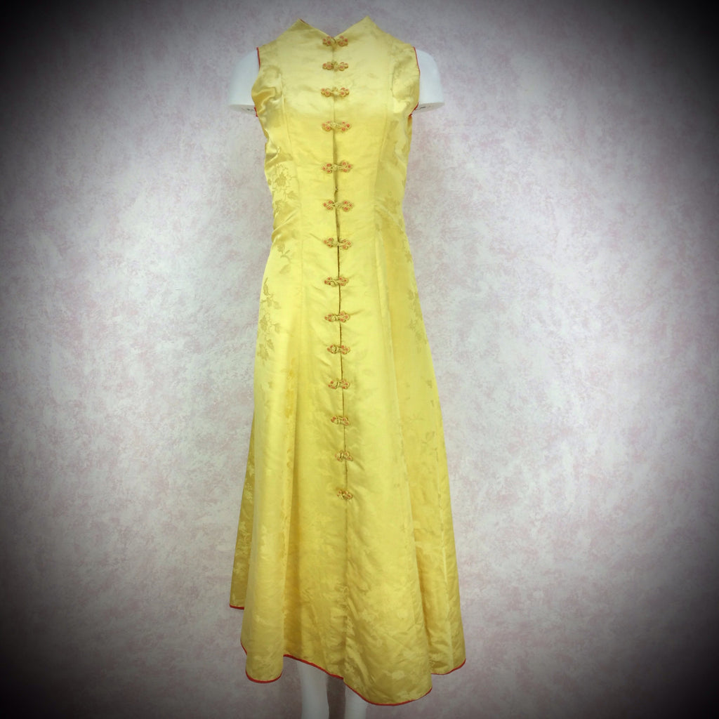 Vintage 50s Silk Jacquard Chinese-Style Hostess Dress