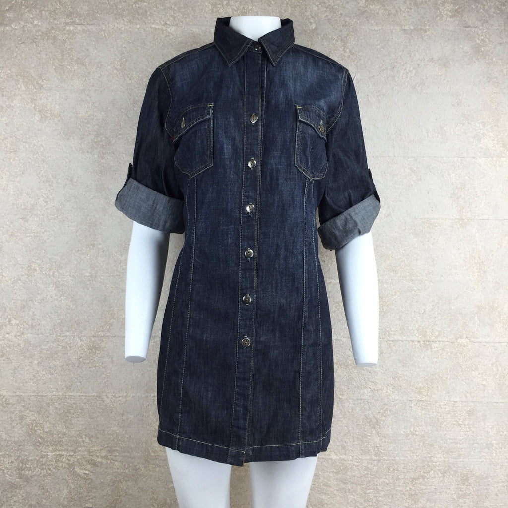 2000s Level 99 Denim Shirt Dress, Front