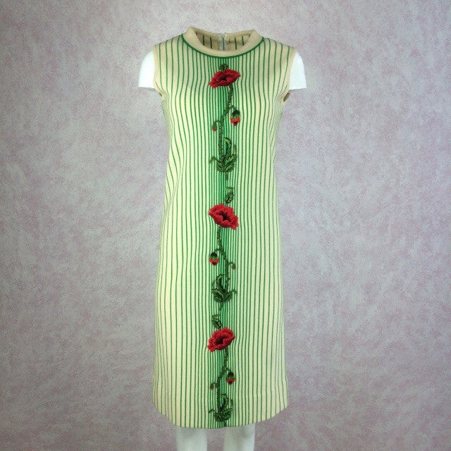 Vintage 60s Striped Knit Dress w/Embroidered Rose, Front