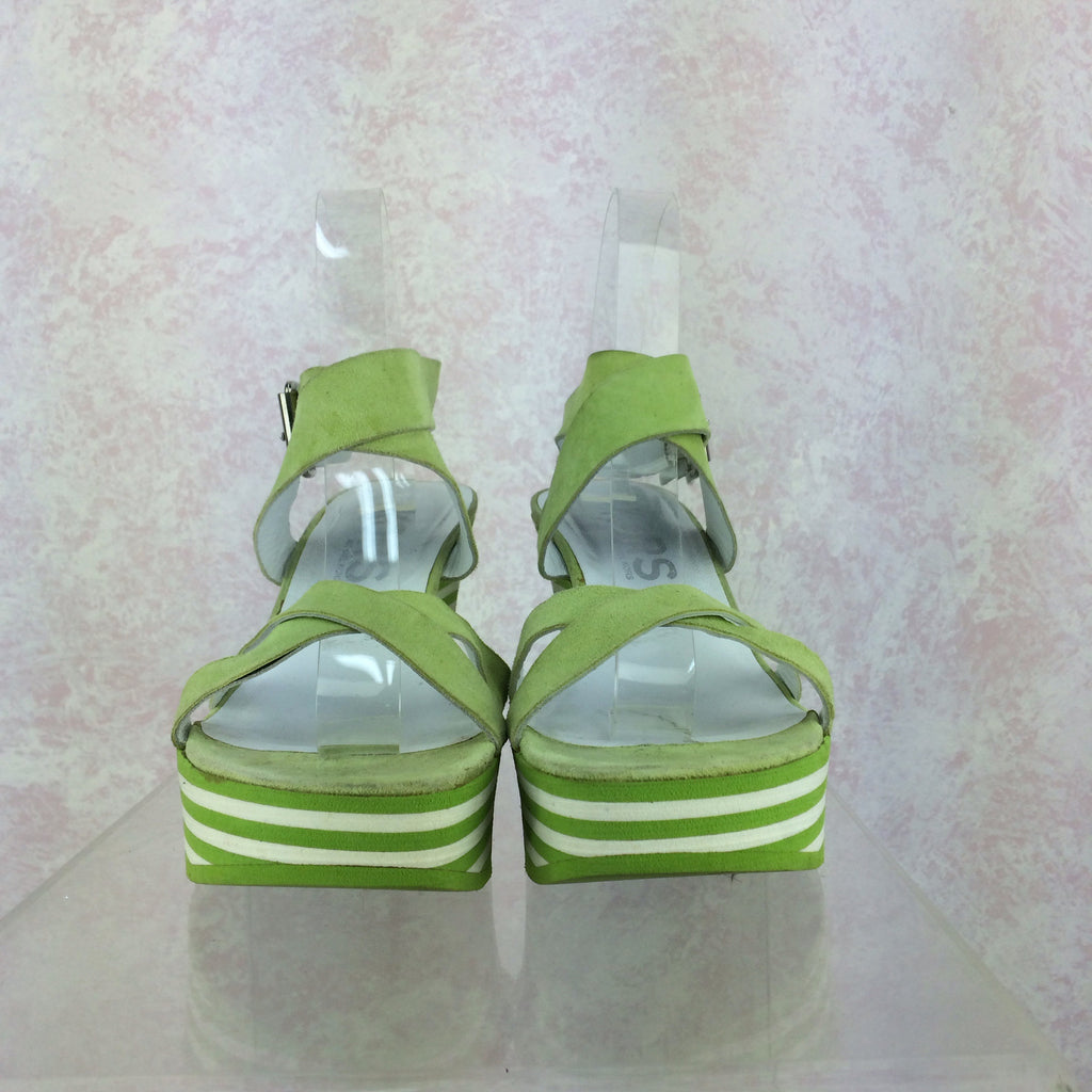2000s MICHAEL KORS Lime Ankle Strap Wedgies, Front