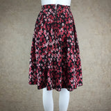 Vintage 60s Cotton Floral Full Dirndl Skirt, back