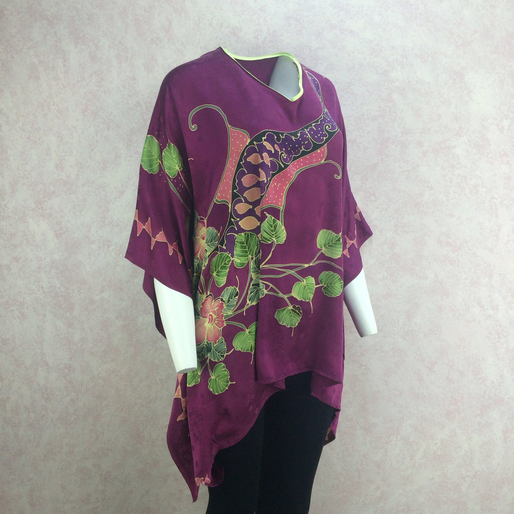 Vintage 80s Silk Hand Painted Top, side