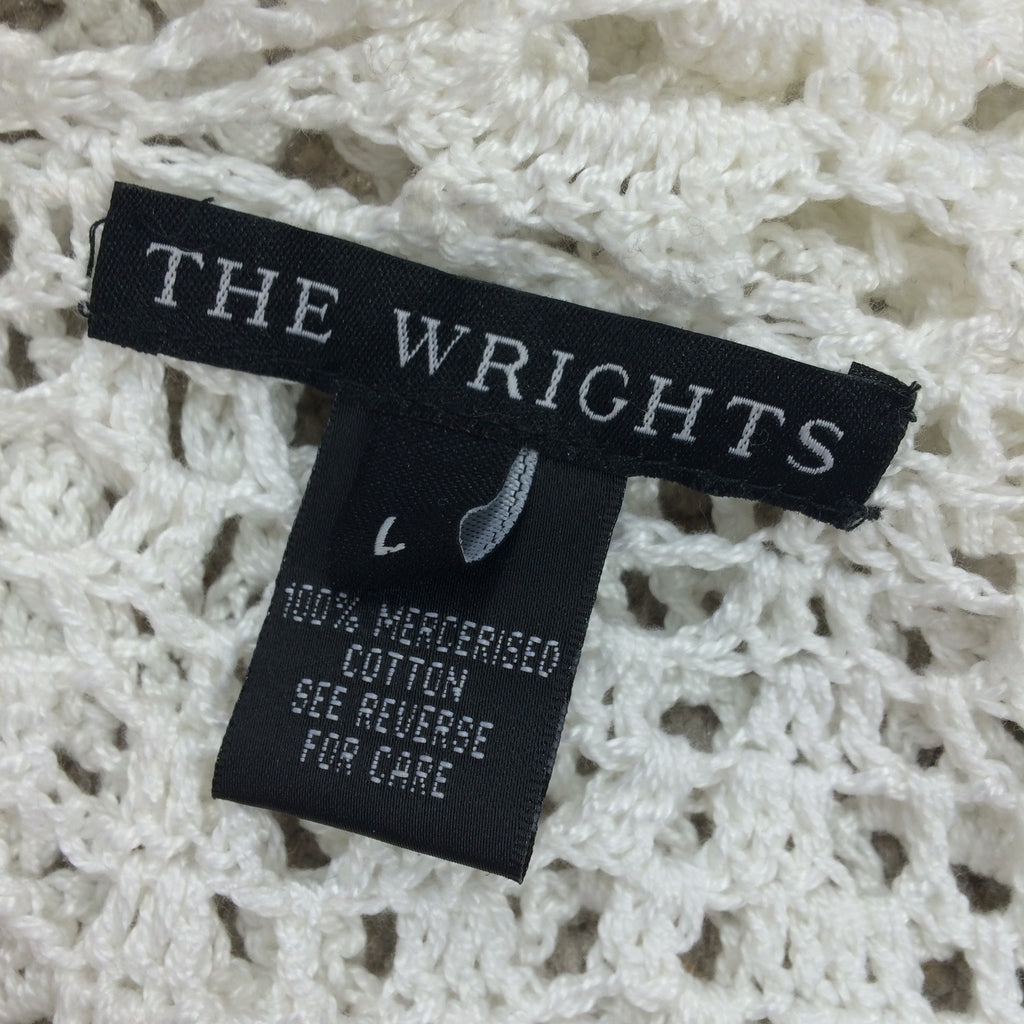 2000s THE WRIGHTS White Cotton Crochet Sweater, Label