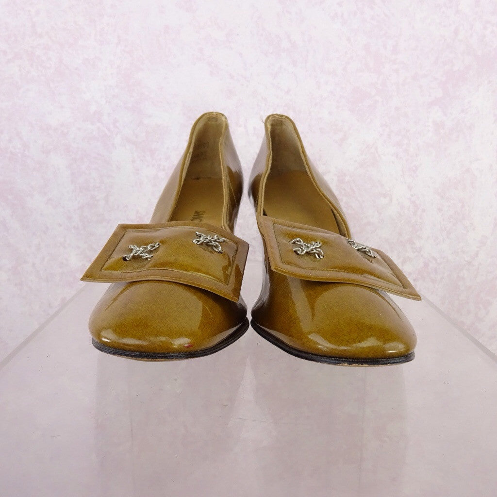 Vintage 70s Mustard Patent Leather Pumps w/Buckle eqr