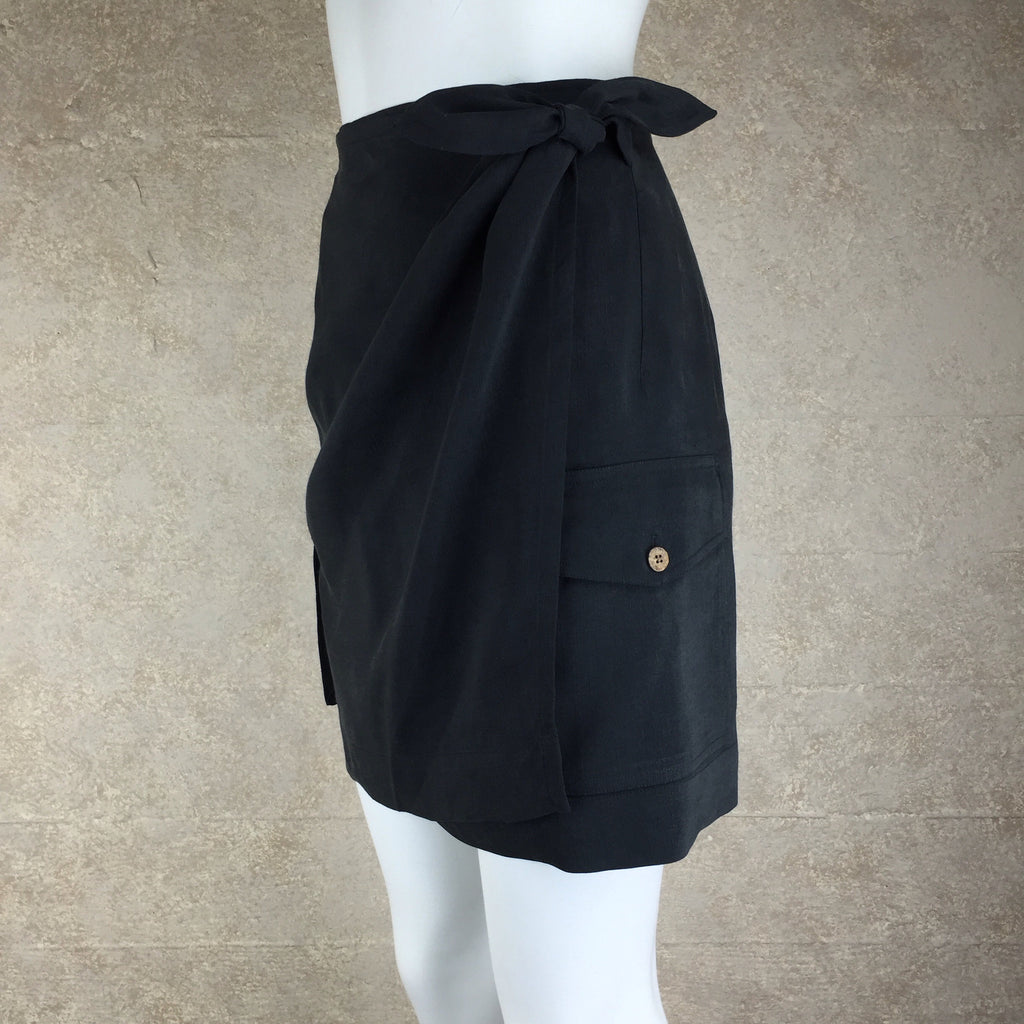 2000s TOMMY BAHAMA Silk/Linen Wrap Skirt, Side