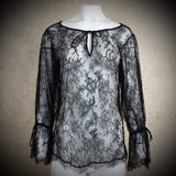 2000s Black Chantilly Lace Boho Blouse, NOS