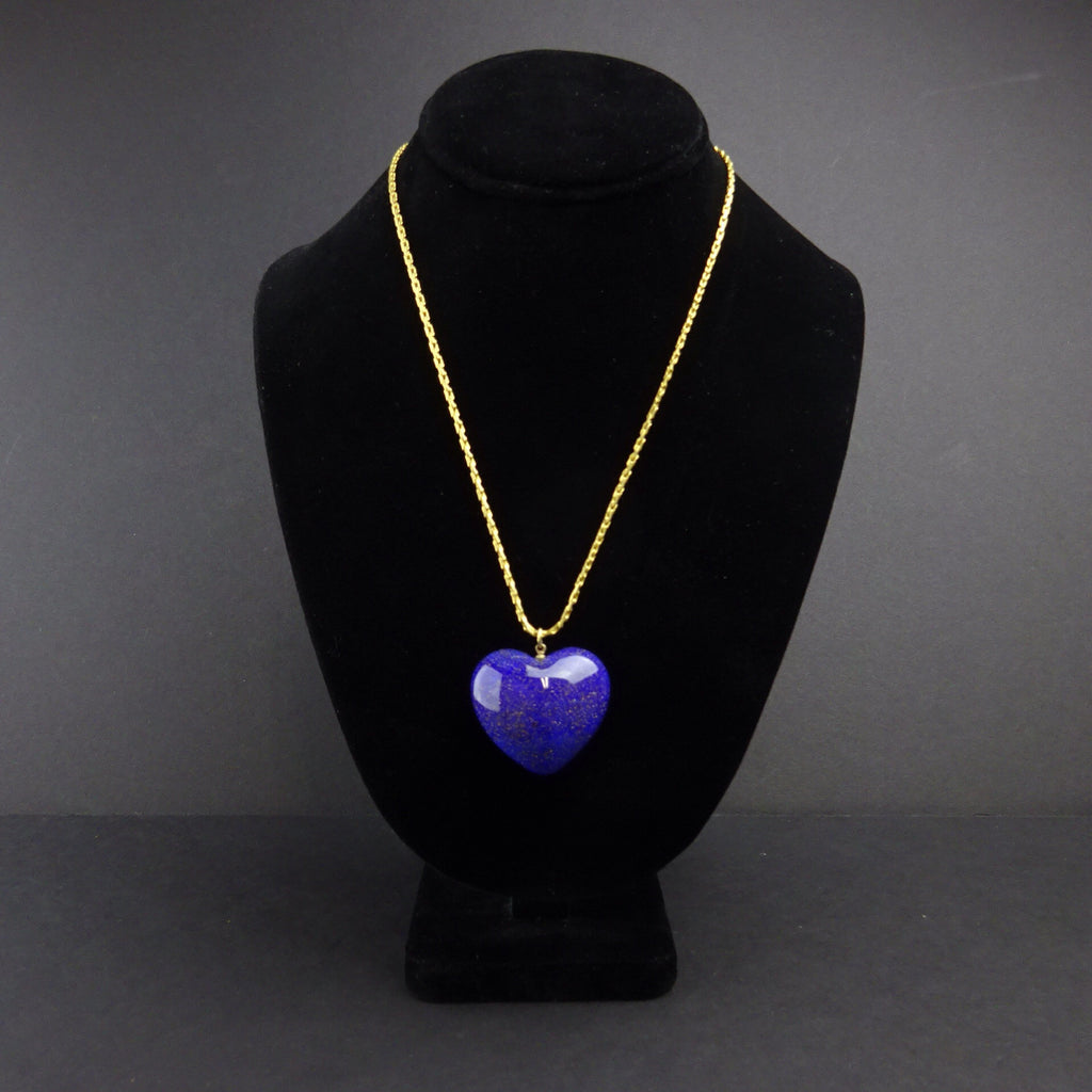 Vintage 70s DE LILLO Lapis-Colored Heart Pendant Necklace