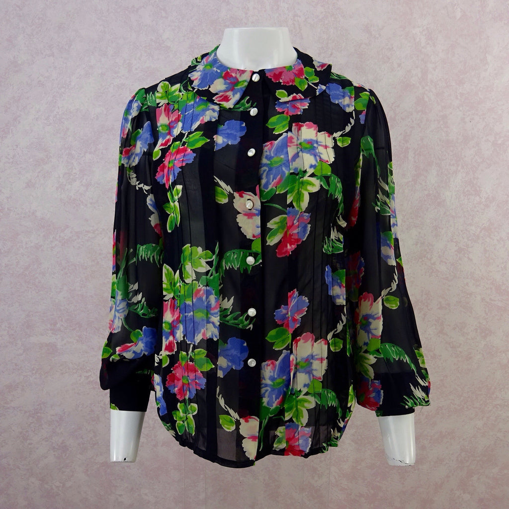 8f1197fd526 2000s CACHAREL Floral Chiffon Blouse, NOS – Voguely Familiar