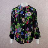 2000s CACHARAL Floral Chiffon Blouse, NOS f