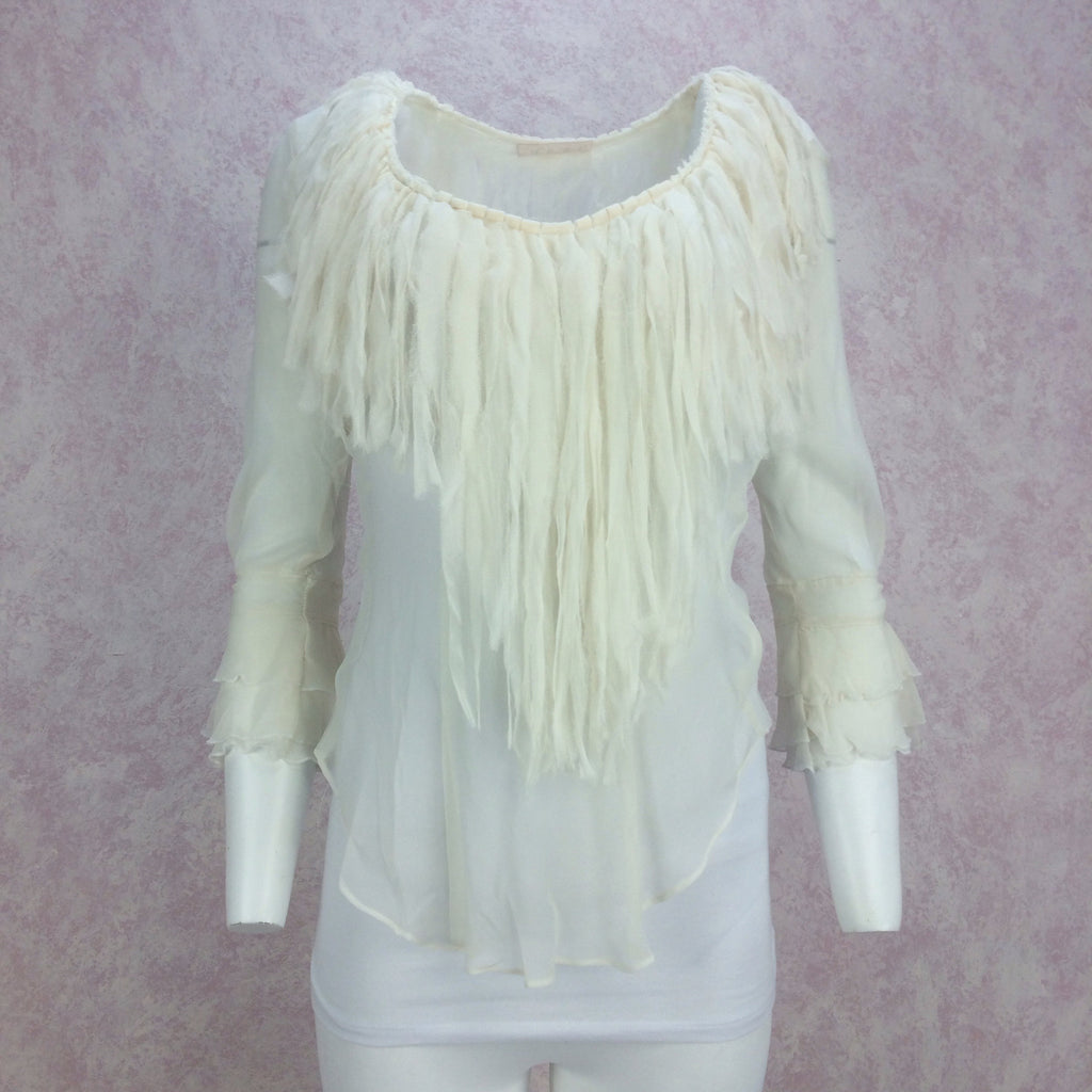 2000s Chiffon Fringed Collar Top, Front