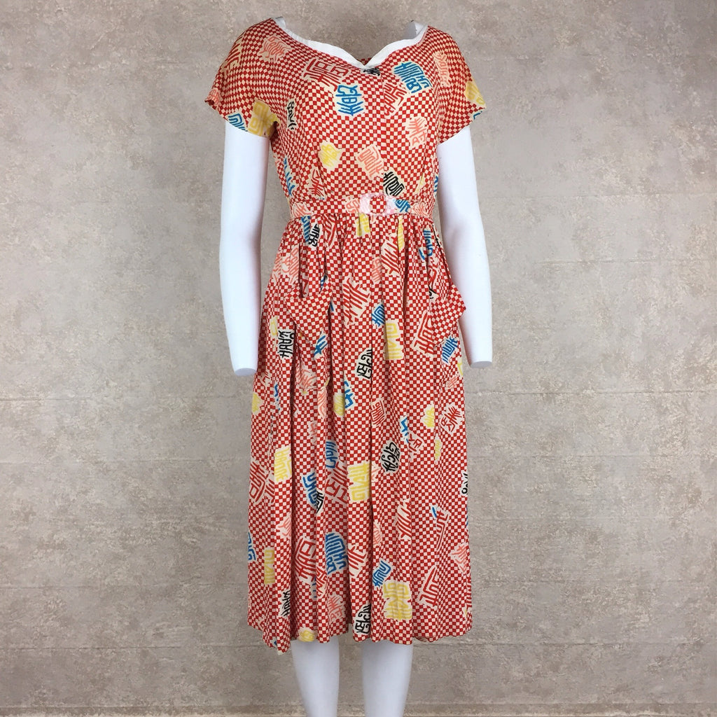 Vintage 40s Rayon Print Fit & Flair Dress, Front