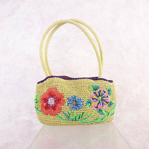 Vintage 40s Purse w/ Multi-Color Floral Soutache