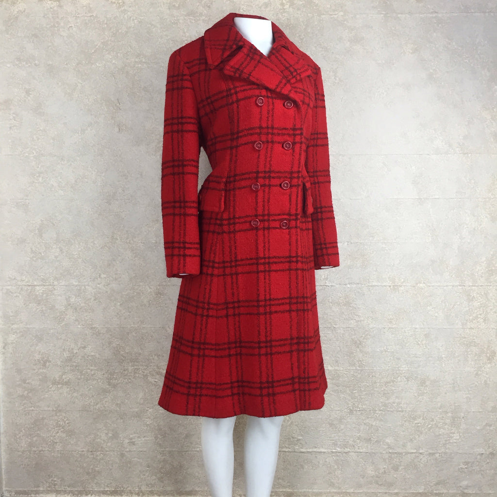 Vintage 70s Double-Breasted Check Wool Coat, side