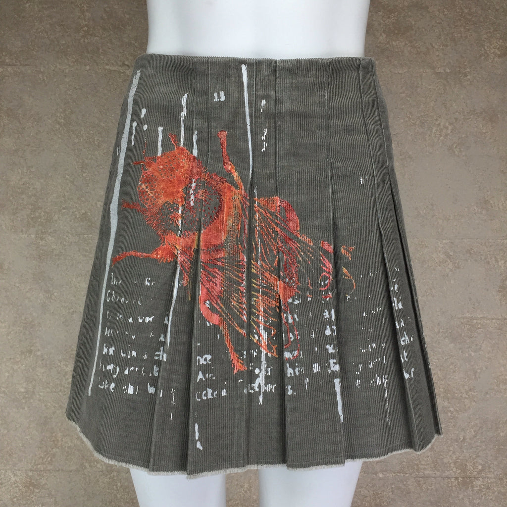 "2000s ""Just Cavalli"" Silkscreened Cordoroy Skirt, NOS"