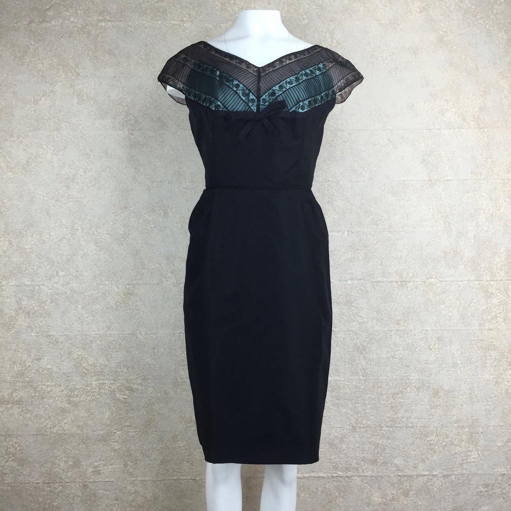 Vintage 60s Sexy Silk Sheath Cocktail Dress, Front