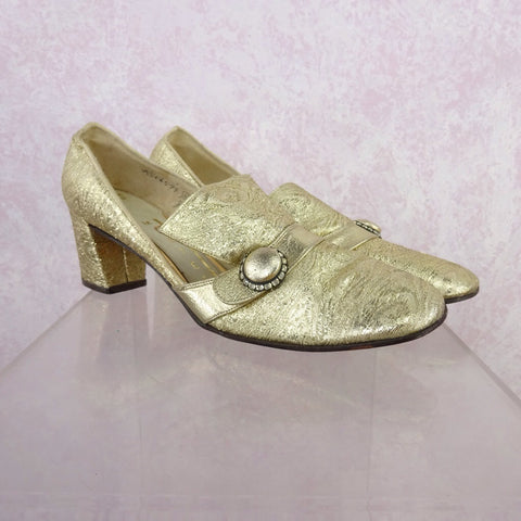 Vintage 70s 2-Tone Leather Loafers w/Bow, NOS