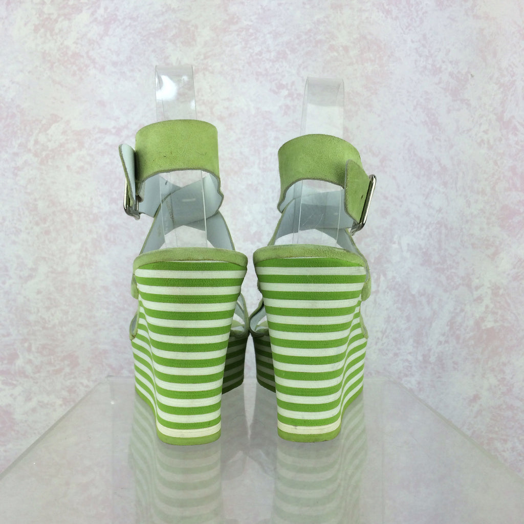 2000s MICHAEL KORS Lime Ankle Strap Wedgies, Back
