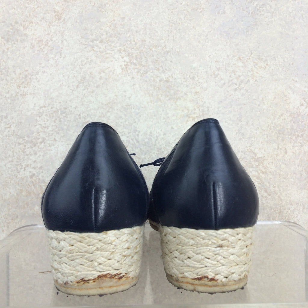 Vintage 90s FERRAGAMO Wedgie Lace Up Shoes, Heel