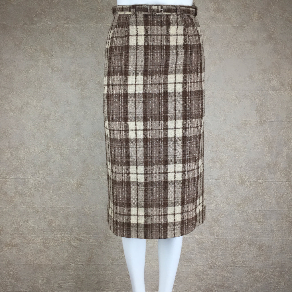 Vintage 50s Plaid Tweed Skirt w/Belt front