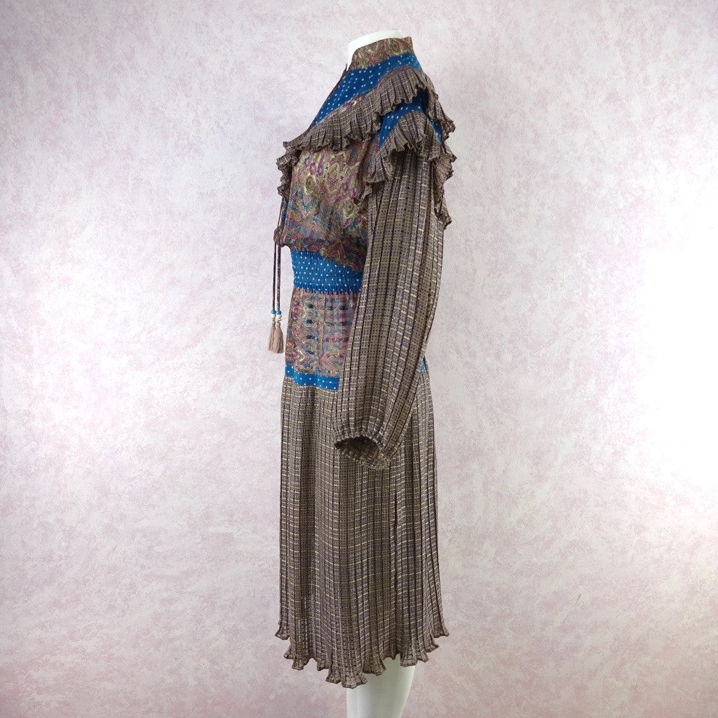 Vintage 80s DIANE FRES Ruffled Dress w/Pleats f
