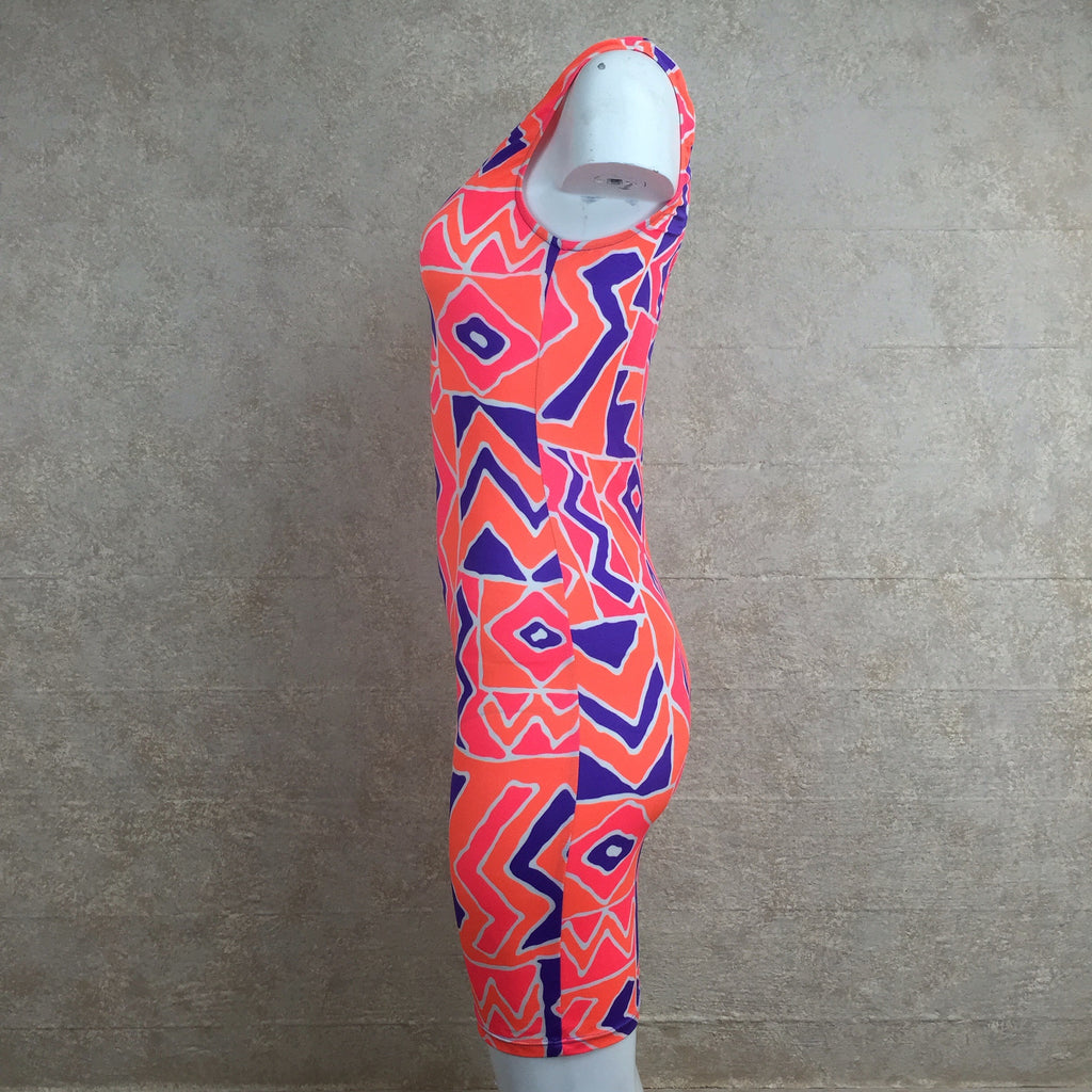 Vintage 90s Orange Memphis Print Stretch Dress, Side 2