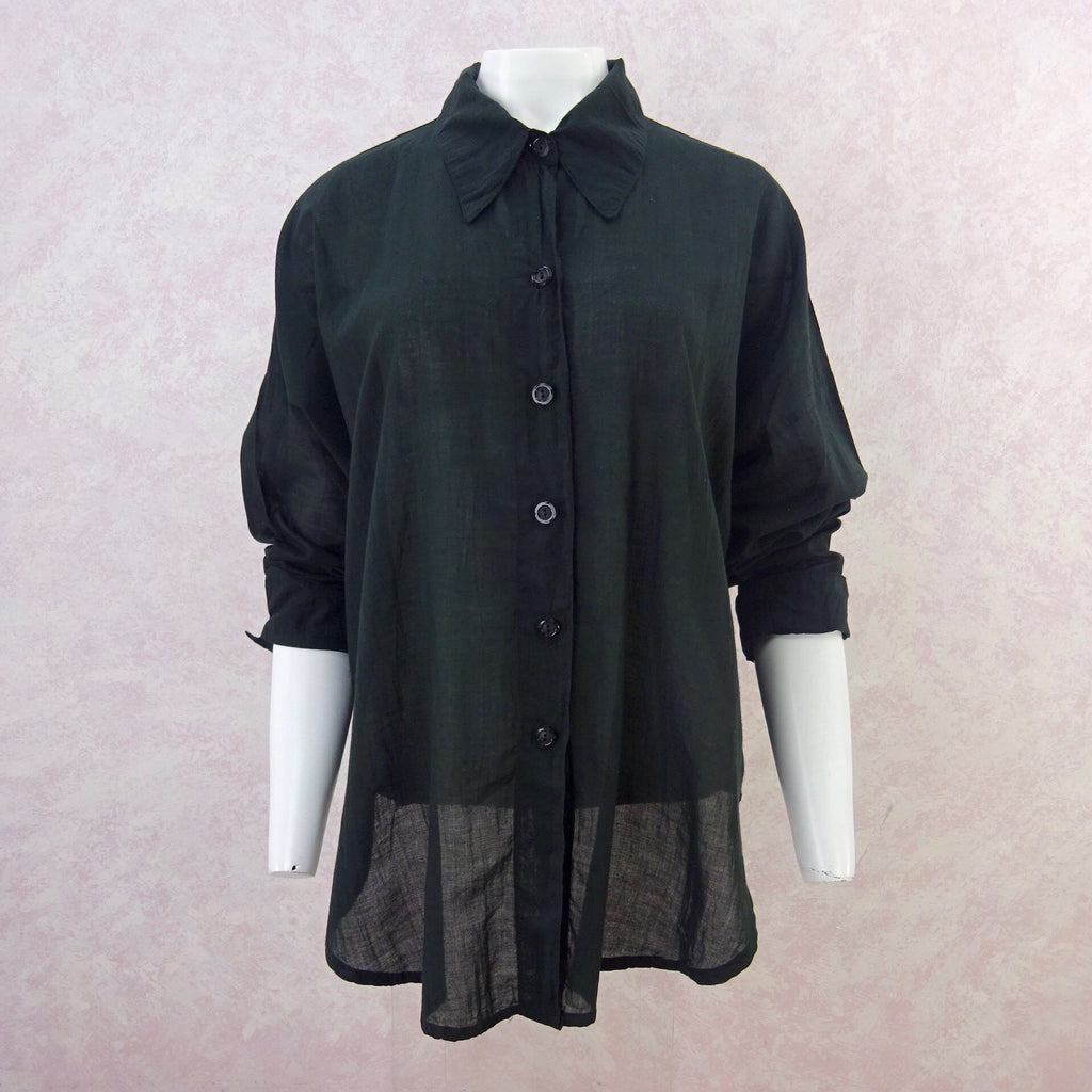2000s Black Sheer Cotton Shirt, NOSf